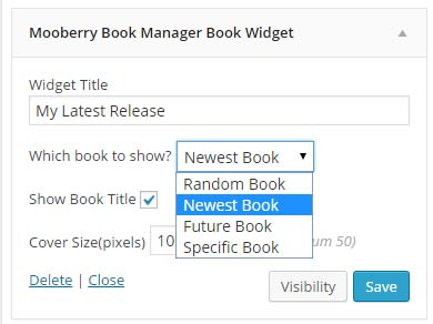 Choose from four types of widgets to feature books on your sidebar.