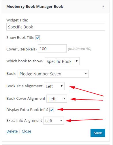screen shot of new book widget options