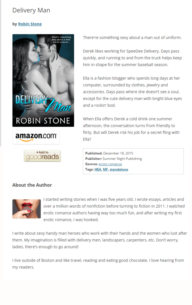 Screenshot of book page showing Author name and About the Author section at the bottom