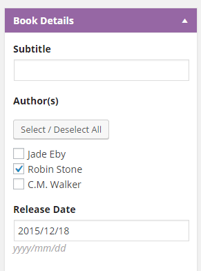 Screenshot of form to add authors to boos with checkboxes