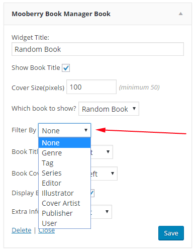screen shot of filter options on Book widget