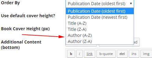 Screenshot of sorting options for author, ascending or descending