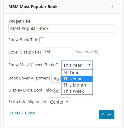 screen shot of Most Popular Book widget options