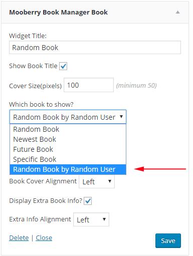 screen shot of book widget options
