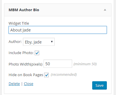 Screen shot of widget form showing author selection and checkbox to hide on book pages