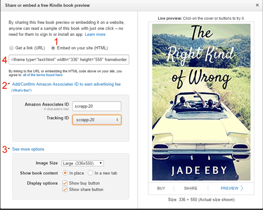 Set the options and copy and paste the code for Kindle Live Preview