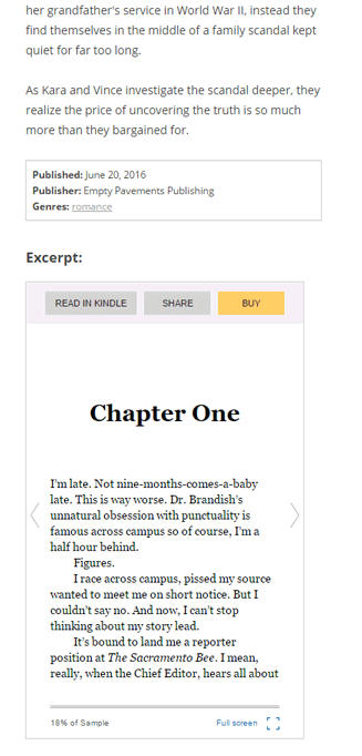 The Kindle Live Preview will display in the Exceprt section under the summary and book details